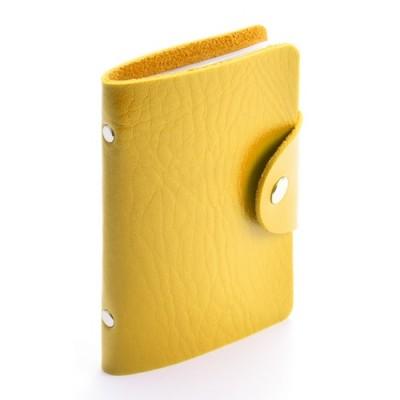 Porte-cartes avec corps en similicuir jaune